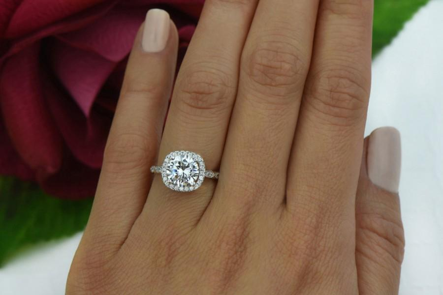 Mariage - 2.25 ctw Vintage Inspired Ring, Halo Engagement Ring, Man Made Diamond Simulants, Art Deco Bridal Ring, Promise Ring, Sterling Silver