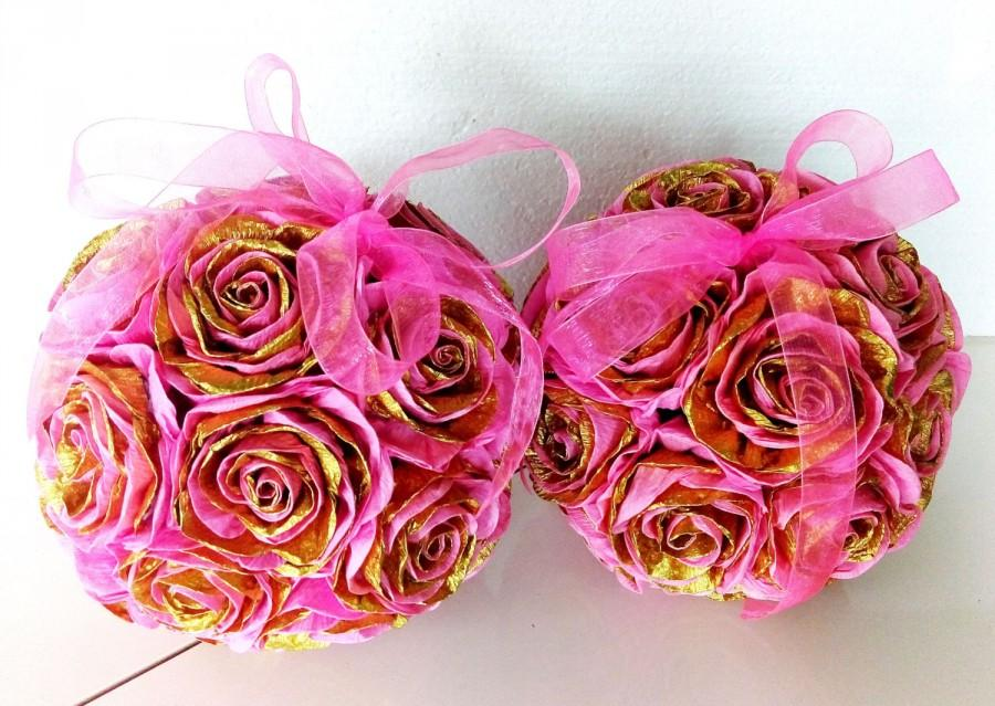 2 pink gold crepe paper flowers hanging kissing balls wedding 2 pink gold crepe paper flowers hanging kissing balls wedding bouquet baby shower flower girl pomander baptism birthday party centerpiece mightylinksfo