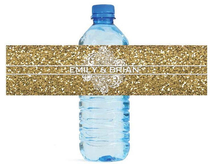 Свадьба - Gold Glitter and Lace Wedding Water Bottle Labels Great for Engagement Bridal Shower Party easy to apply and use