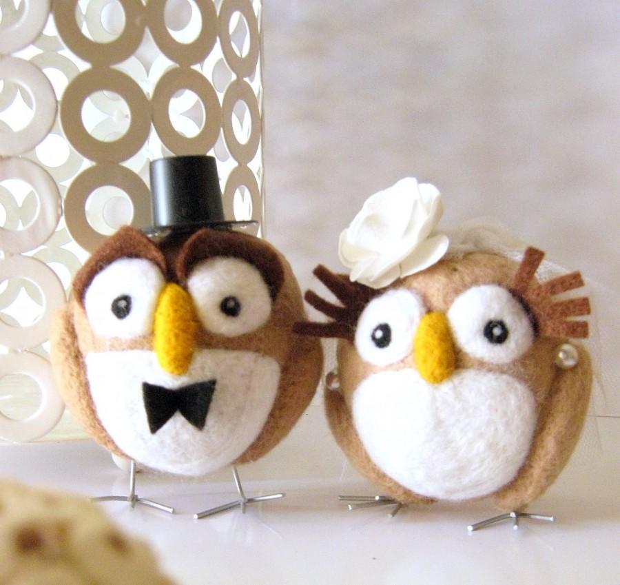 زفاف - Felted Wedding Cake Topper - Needle Felted Hoot Couple - Wool Owls -