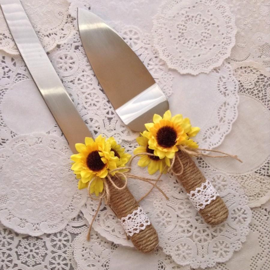 Wedding Cake Server And Knife Set / Sunflower Wedding Cake ...