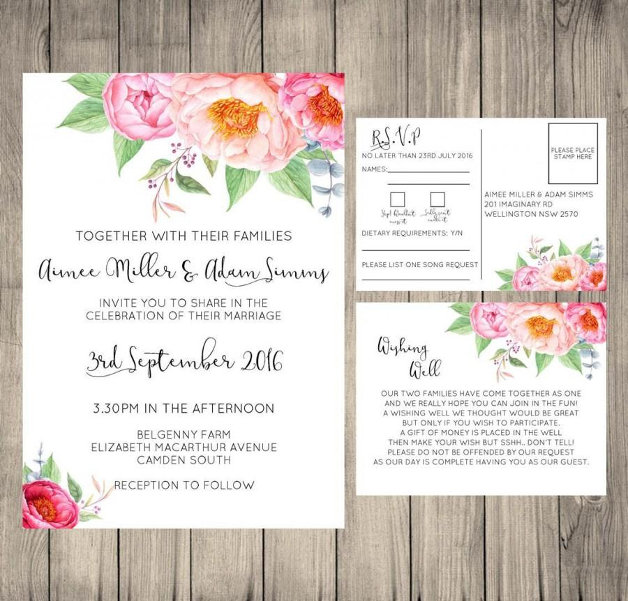 Floral Wedding Invitation, Wishing Well Card, RSVP Card, Wedding ...