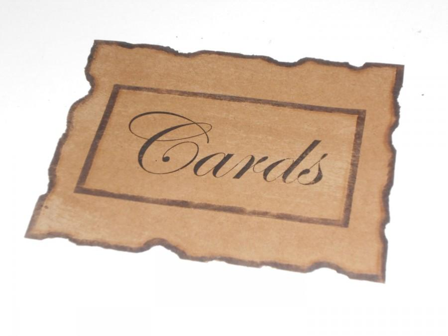 Rustic Distressed Burned And Antiqued Paper Cards Sign / Wedding ...