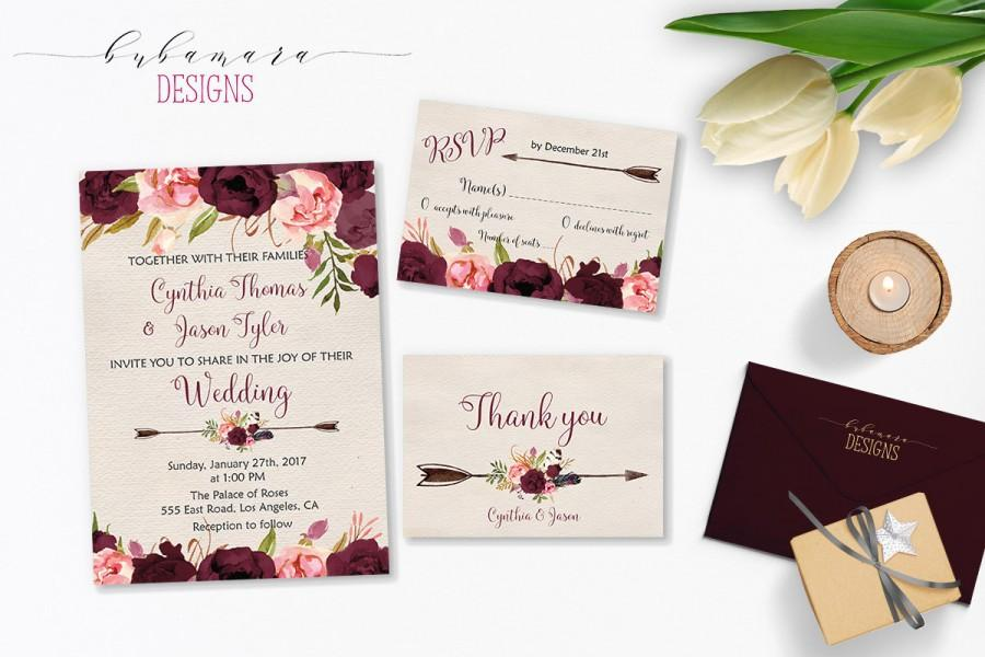Свадьба - Wedding Invitation Marsala Burgundy Pink Peonies Printable Wedding Invite Floral Wedding Suite Bohemian Flowers Digital Invite Set - WS015