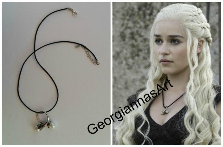 Свадьба - Game of Thrones Jewelry - Daenerys Targaryen Ring + Necklace ! Silver plated pearl ring - Emilia Clarke  - Daenerys/Khaleesi
