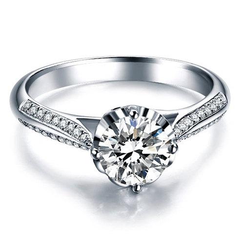 Mariage - Round Cut Diamond Engagement Ring 14k White Gold or Yellow Gold Art Deco Natural Diamond Ring