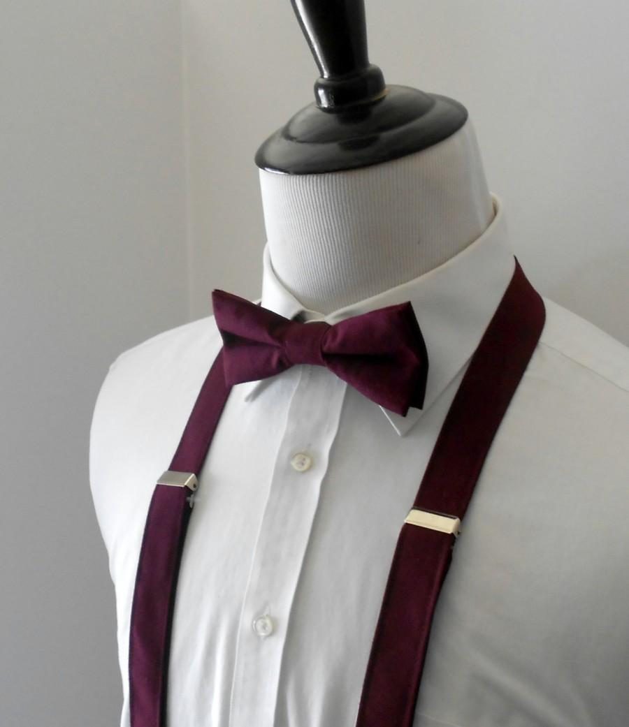 Свадьба - Burgundy Bowtie and Suspenders Set- Men's, Teen, Youth. 2 weeks before shipping