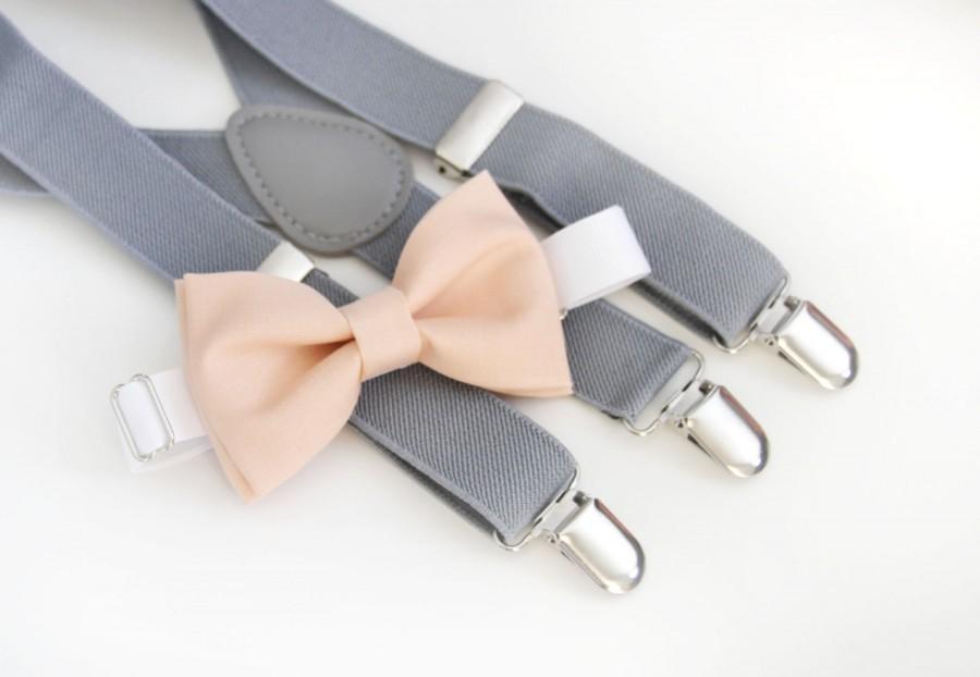 Hochzeit - Light peach bow-tie & Light gray elastic suspender set, Adjustable neck strap and suspender, suspender and bow tie 6month - 5 year