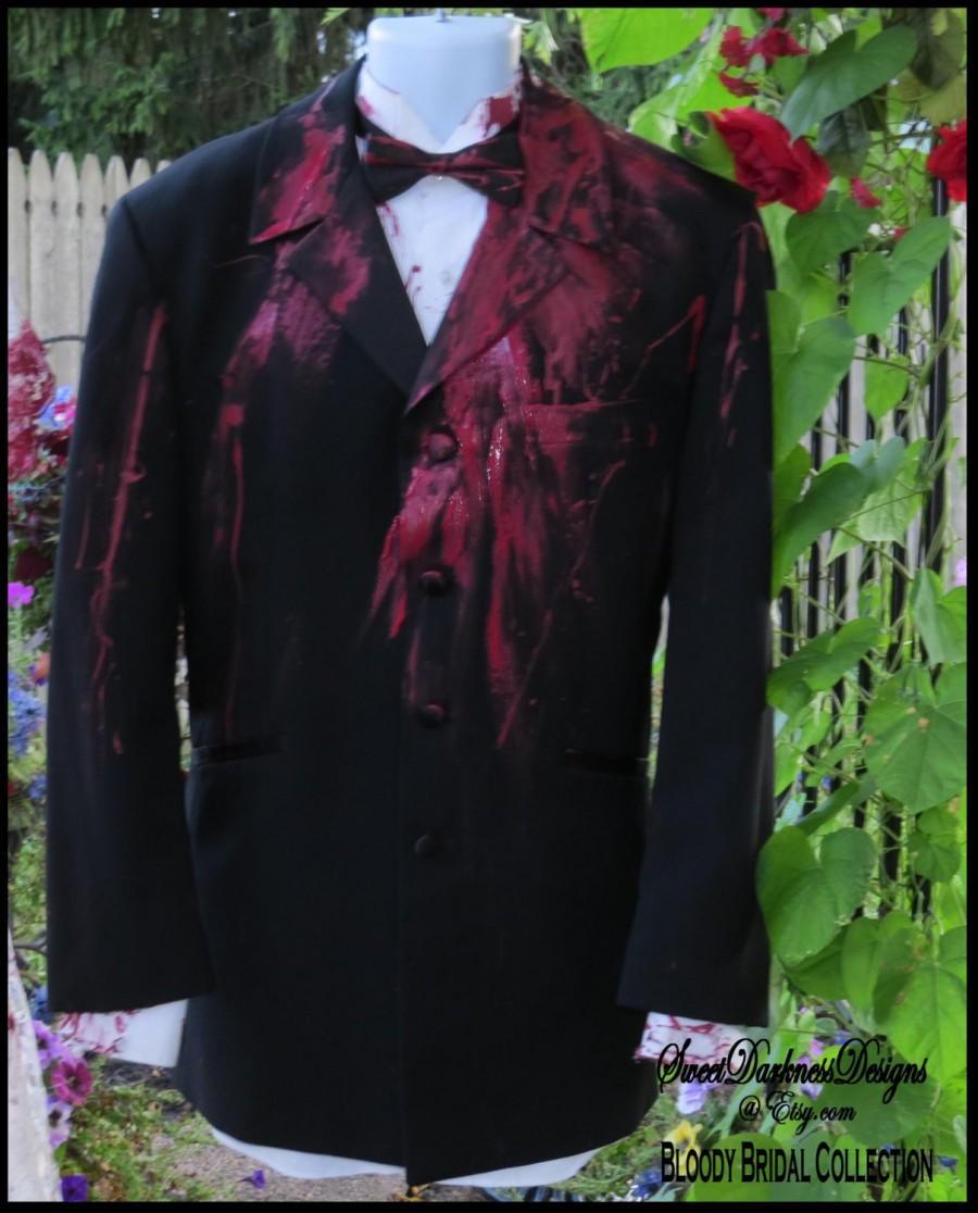 Hochzeit - Bloody TUXEDO COAT Bloody Vampire Costume  Dia de Los Muertos Costume for Men Halloween Horror Costume Corpse Groom by SweetDarknessDesigns