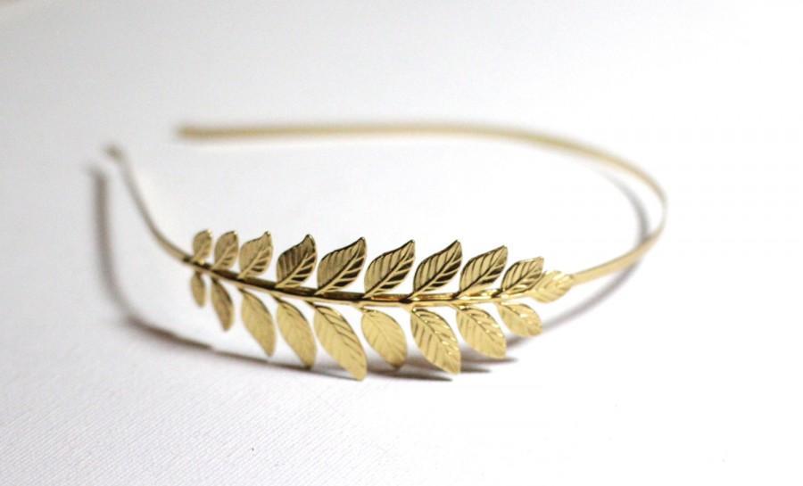 Свадьба - Athena Headband, Greek Goddess Headband, Bridal Hair Accessories, Bridesmaid Headband, Gold Leaf Headband, Crown, Laurel Wreath,
