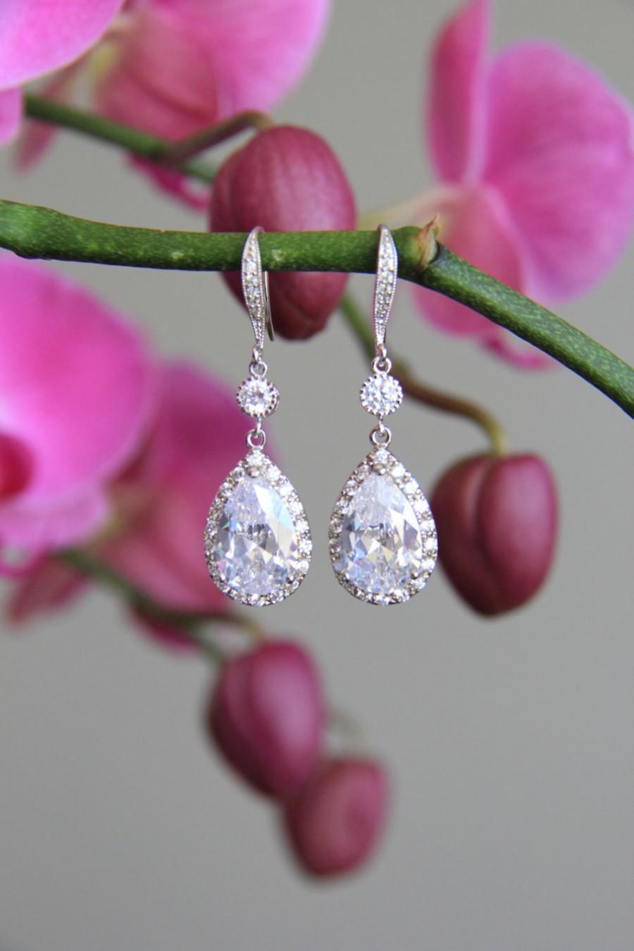 Свадьба - Sparkle filled cz earrings, cubic zirconia earrings, wedding jewelry, bridal jewelry, wedding earrings, bridal earrings