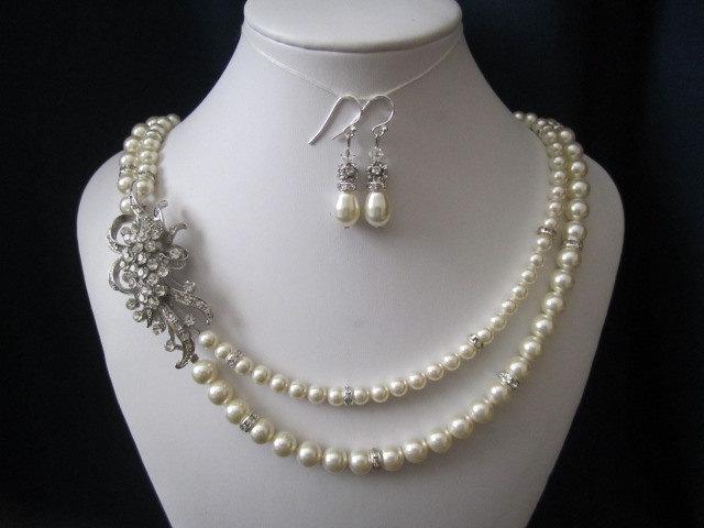 زفاف - ELISA double strand wedding, bridal jewelry, wedding necklace, bridal necklace, pearl necklace earrings, swarovski pearls rhinestones brooch
