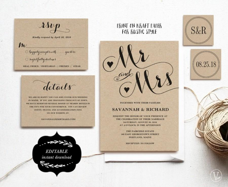 What Should Be Included In Wedding Invitation: Wedding Invitation Template, Printable Wedding Invitation