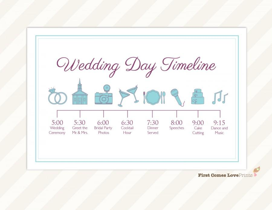 wedding day timeline card itinerary for guests big day schedule