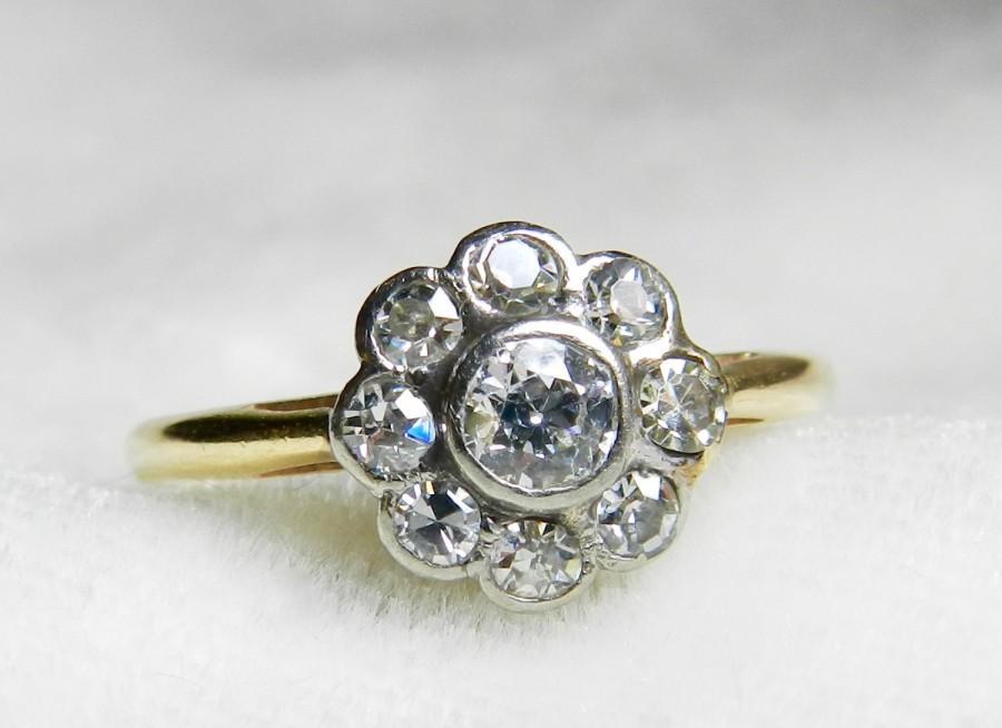Wedding - Antique Engagement Ring Platinum and 14K Old European Cut Diamond Ring Half Carat tdw Art Deco Diamond Ring 1920s Engagement Ring