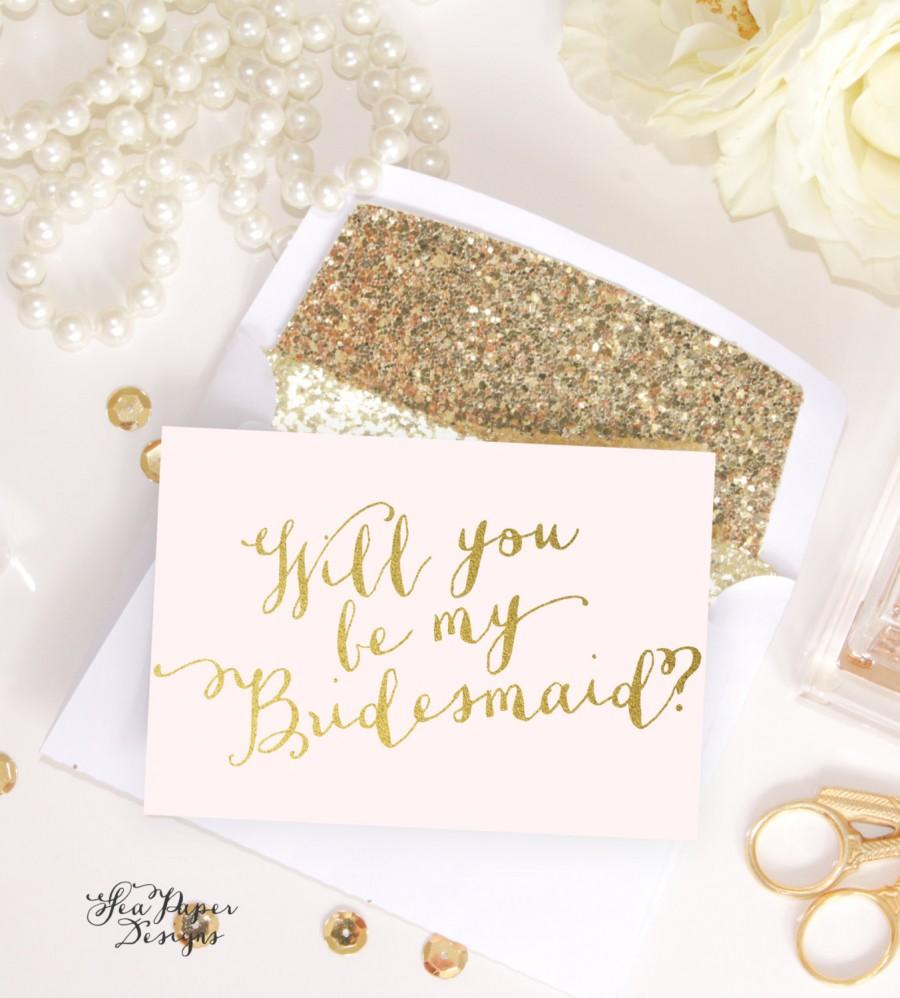 Mariage - Blush Pink & Gold Foil Will you be my Bridesmaid, Maid of Honor, Bridal party proposal card invite instant download DIY Printable