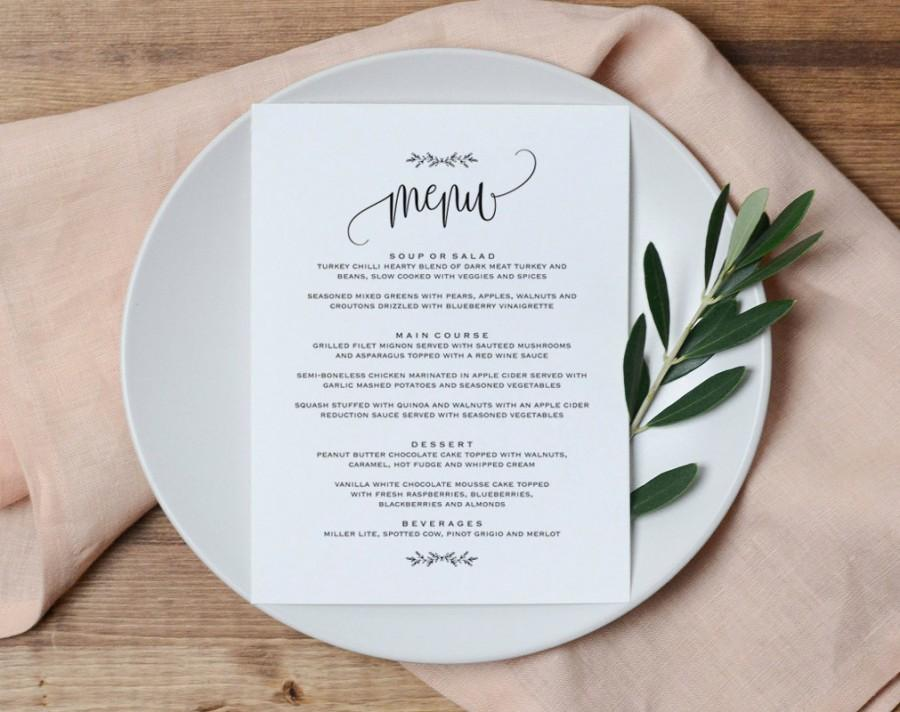 Wedding Menu Printable Wedding Menu Template Rustic Wedding