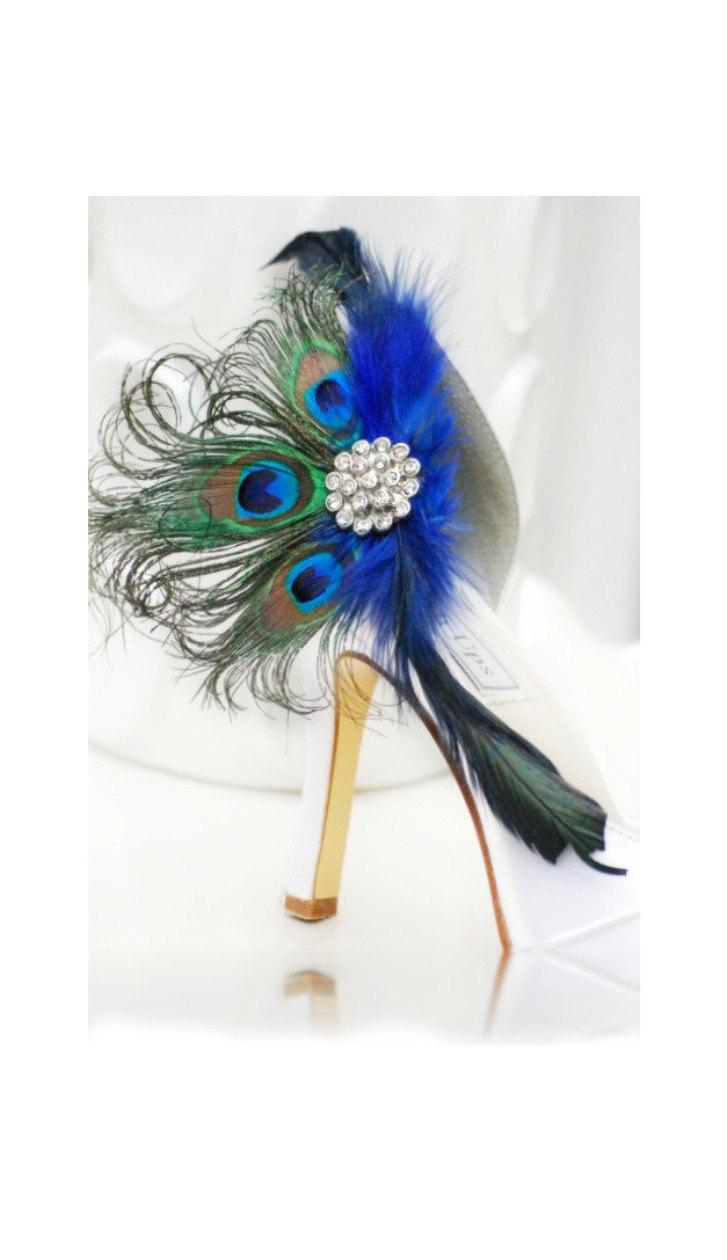Hochzeit - Shoe Clips Royal Cobalt Blue Peacock Fan. Bride Bridal Bridesmaid MOH Birthday Gift, Large Rhinestone, Spring Statement Fashion Couture Teal