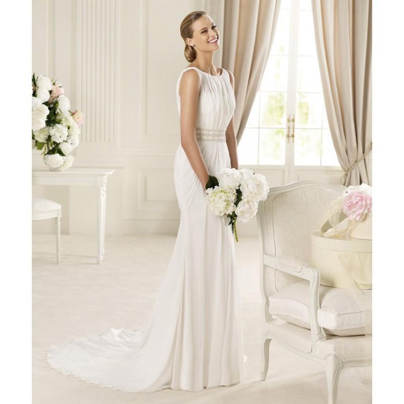 Mariage - Elegant A-line Bateau Straps Beading Sweep/Brush Train Chiffon Wedding Dresses - Dressesular.com