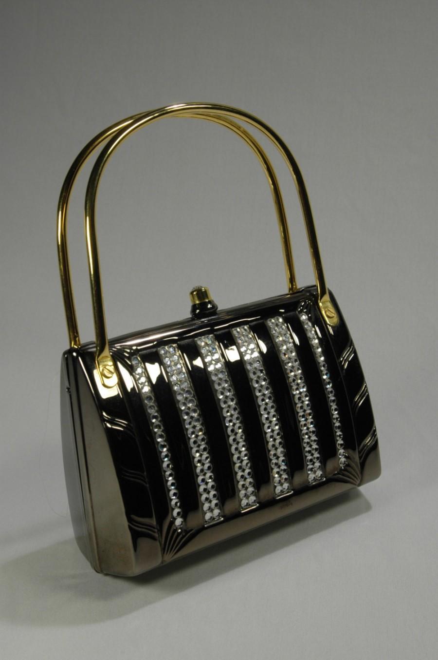 Judith Leiber Style Pewter Rhinestone Evening Bag Metal Gold Tone Cell Phone Holder Braided Chain Handbag