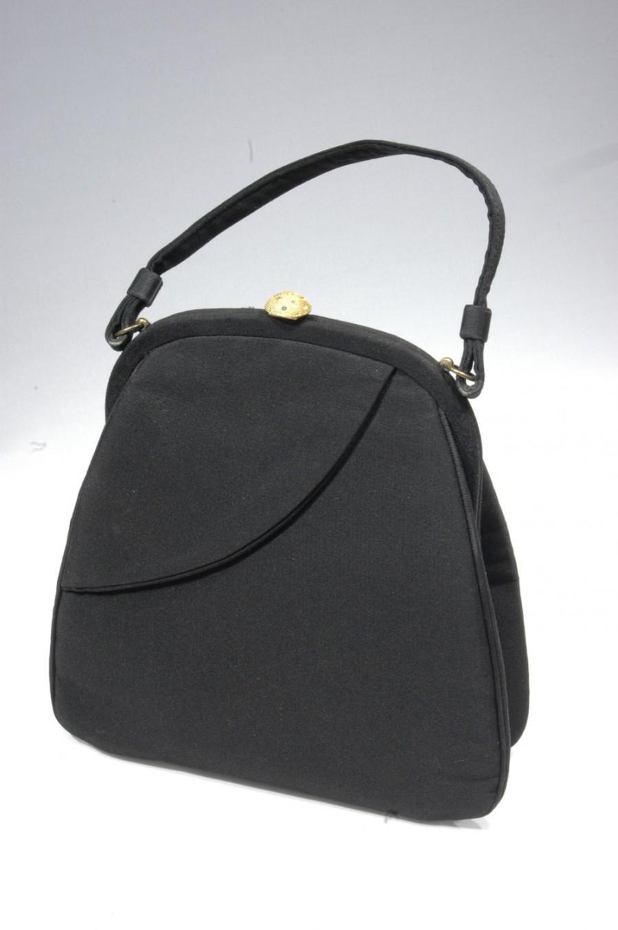 Mariage - Black Evening Handbag Vintage Silk Faille Day to Evening Bag Black Bright Gold Clasp With Rhinestones 1950s-1960 Estate Collectors VintIcon