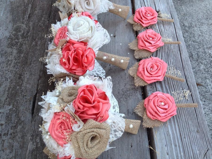 "Свадьба - Beautiful coral silk and natural burlap bouquets (listing is for one bridal bouquet, click on ""item description"" for the rest of my prices)"