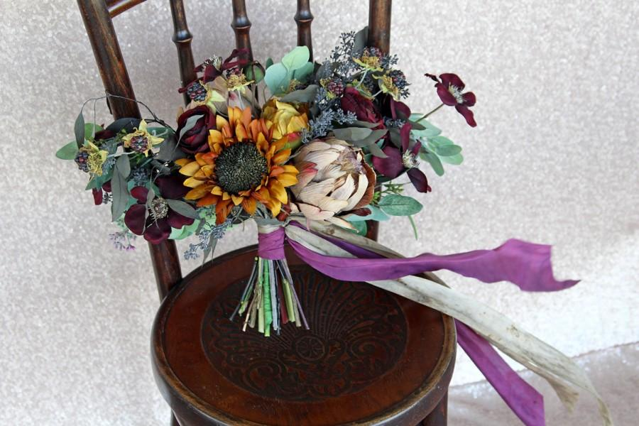 Fall autumn loose wildflower silk flower boho plum and gold wedding fall autumn loose wildflower silk flower boho plum and gold wedding bouquet mightylinksfo Gallery