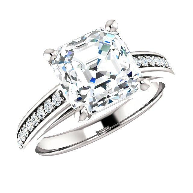 Wedding - Cyber Monday Engagement Ring Deals 2016 8mm Asscher Cut Forever One Moissanite & Diamond Ring