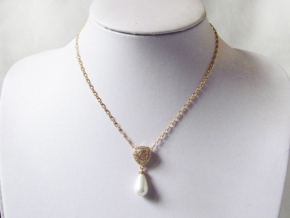 Boda - pearl drop necklace, pearl pendant necklace, drop pearl necklace, pearl necklace wedding, art deco necklace, single pearl necklace gold