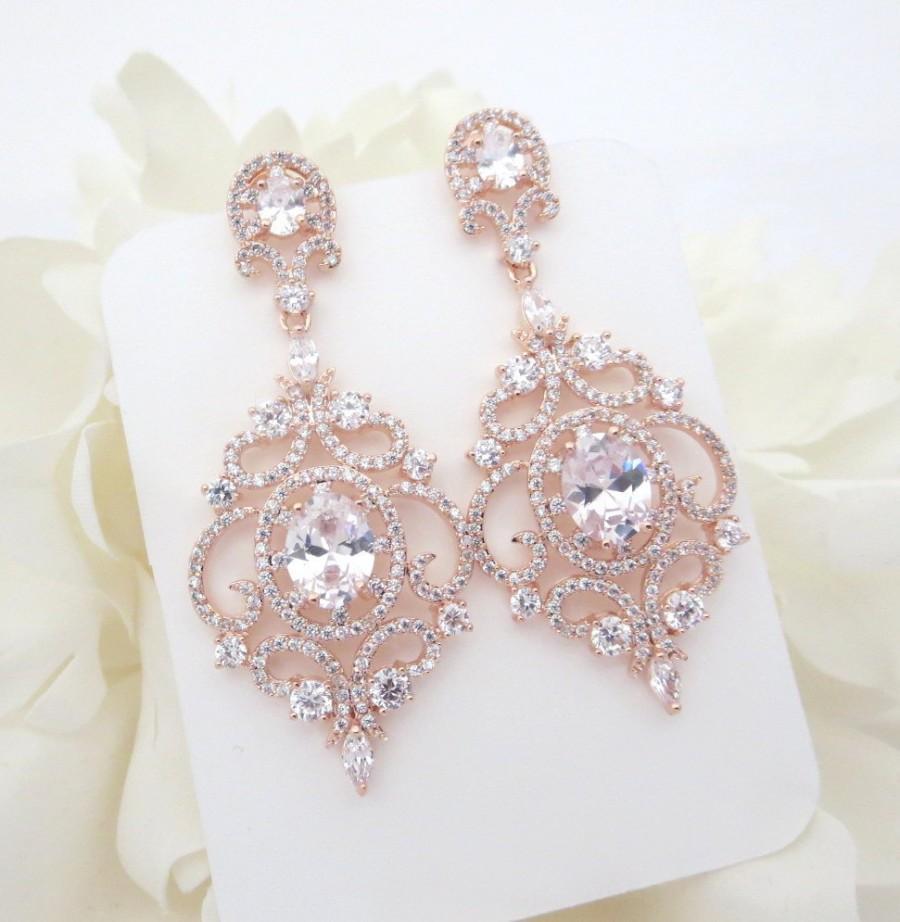 زفاف - Rose Gold Bridal earrings, Rose Gold Chandelier earrings, Wedding earrings, Wedding jewelry, CZ earrings, Wedding accessories, Bridesmaid