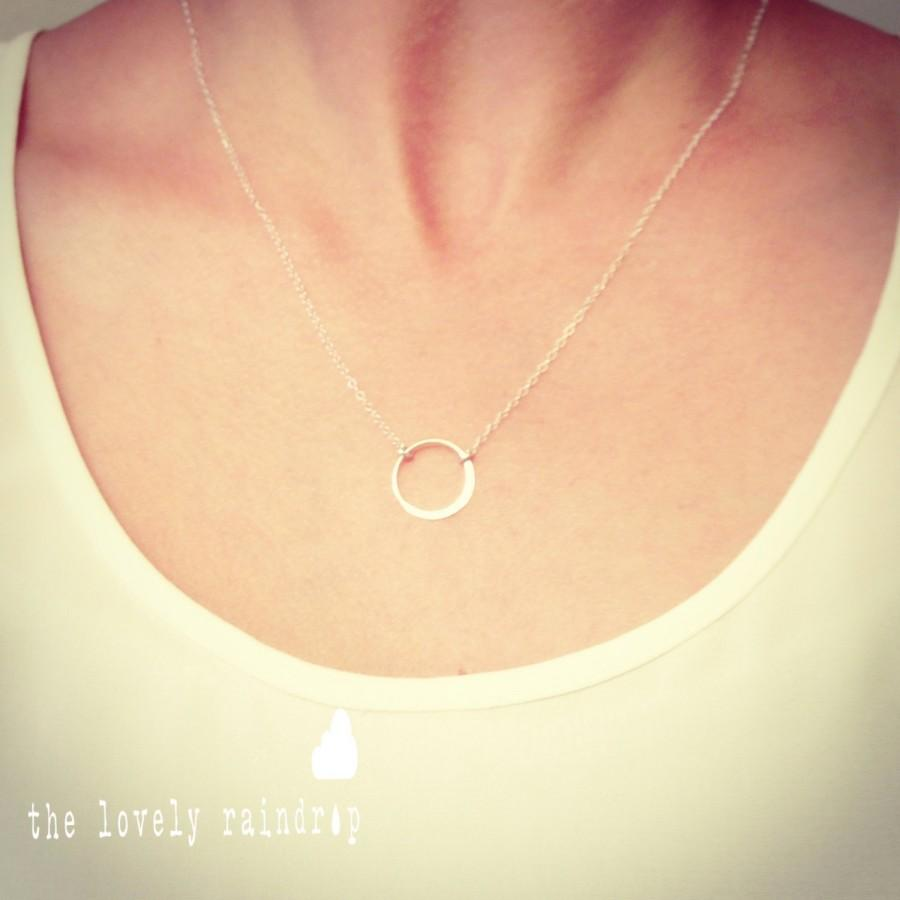 """Mariage - Sterling Silver Single Circle Eternity Necklace - 1/2"""" in diameter - Perfect Gift - The Lovely Raindrop"""