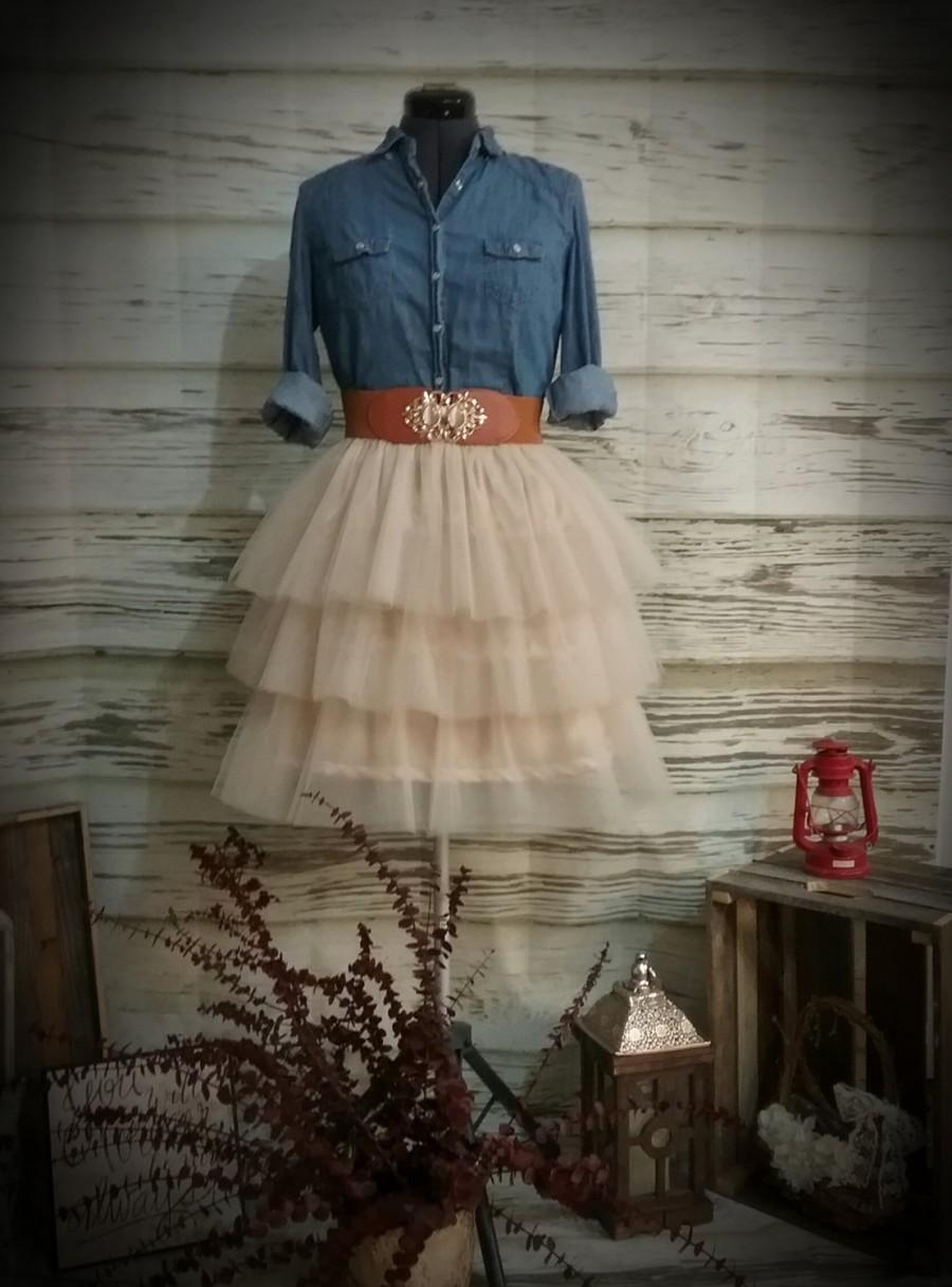 Wedding - Free Shipping to USA Custom Made Adult Champagne Three Tiered Tulle Skirt -for bridesmaid, Country Wedding,Rustic Wedding for Bridesmaid