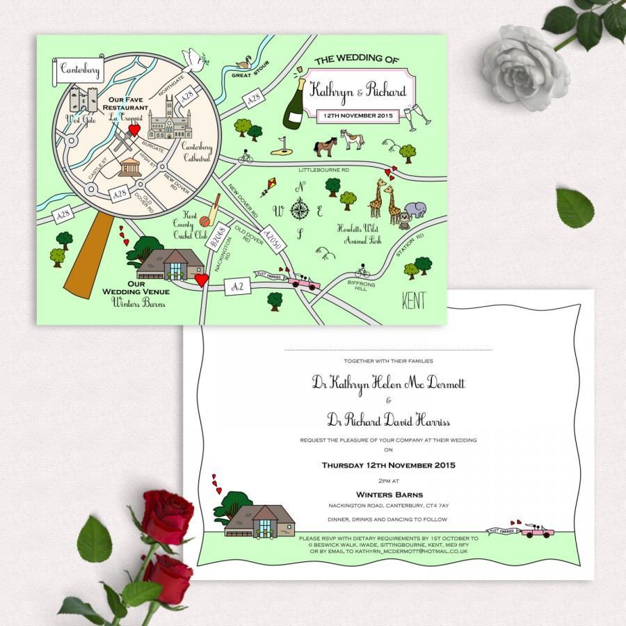 Mariage - Custom Map Invitation or Info Card - Full Colour
