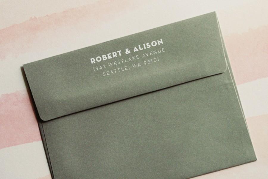 زفاف - Return Address Stamp - Style #04, Wood Mounted or Self-Inking Address Stamp, Wedding Invitation Stamp, Personalized Stamp, Client Gift