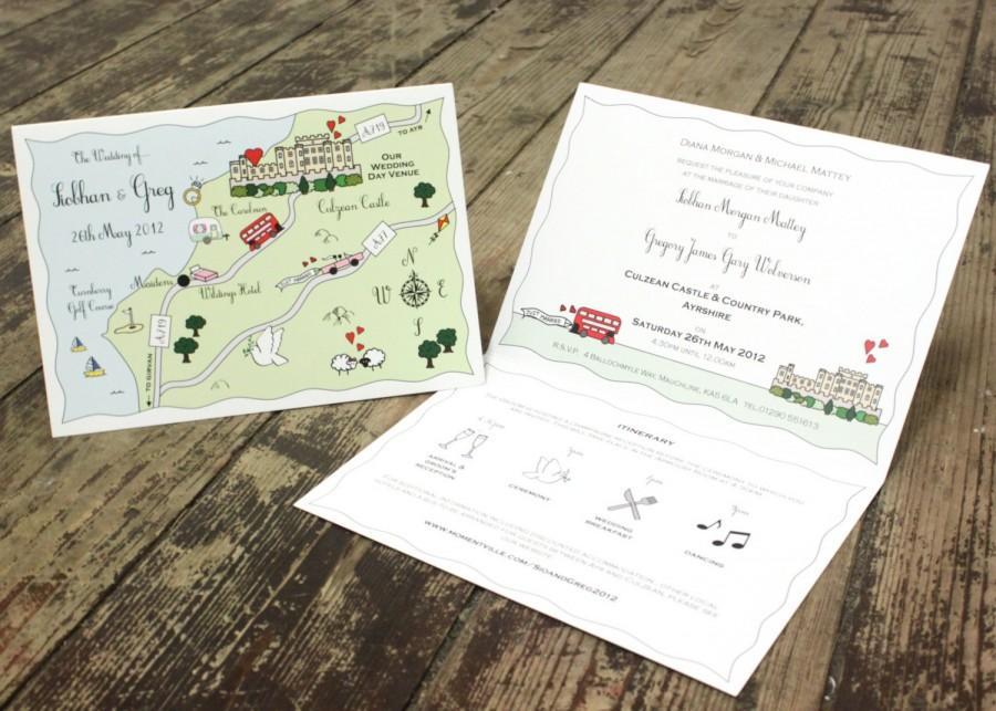 زفاف - Cute Custom Map Folded Card Invitations