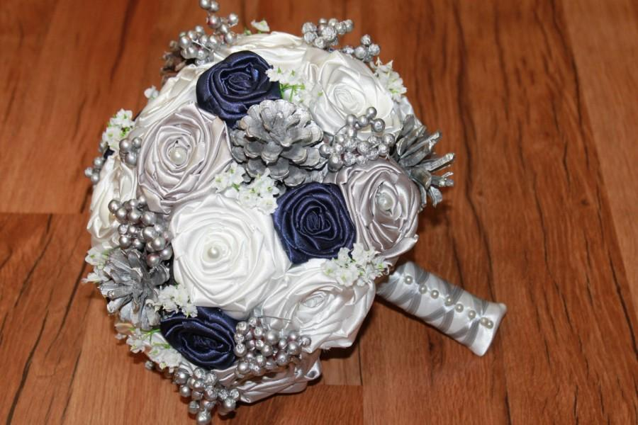 Winter wedding bouquet navy blue and silver wedding bouquet navy winter wedding bouquet navy blue and silver wedding bouquet navy blue wedding bouquet pine cone bouquet silver and white silver ivory mightylinksfo