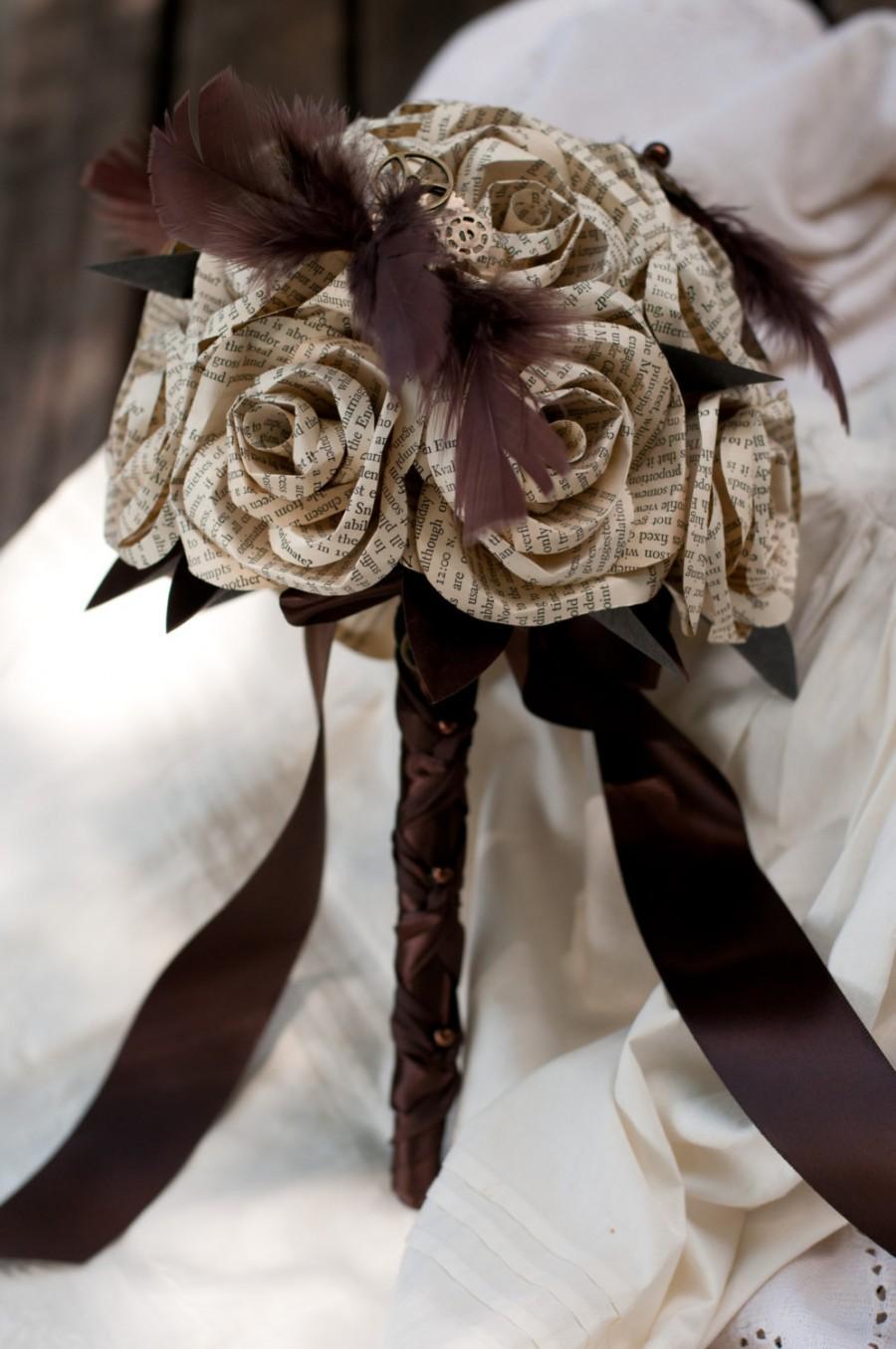 Mariage - Book Page Steampunk Bridal Bouquet