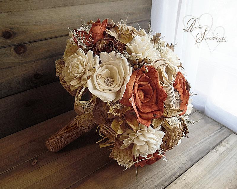 Mariage - Ready to Ship ~~~ Rustic Burnt Orange Fall Bridal Bouquet Large, Sola Flowers, Burlap, Lace, Rhinestones