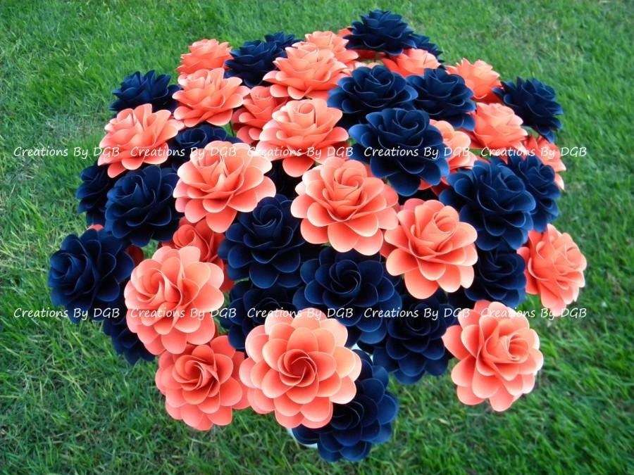 Wedding paper flowers stemmed dark coral and navy blue paper wedding paper flowers stemmed dark coral and navy blue paper flowers 25 pcs made to order for weddings showers centerpiece gifts mightylinksfo