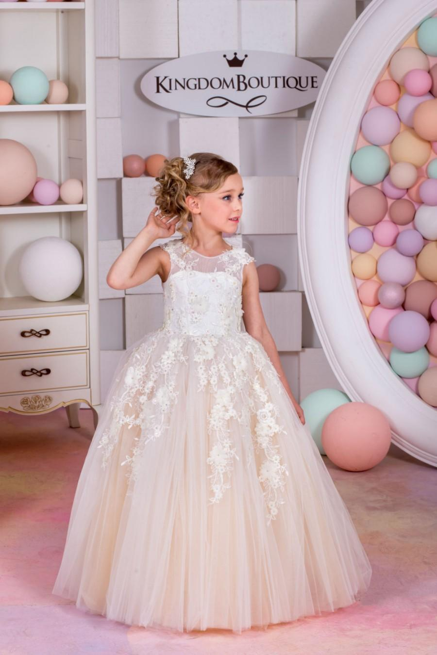 Düğün - Ivory and Blush Tulle Flower Girl Dress - Birthday Wedding Party Holiday Bridesmaid Ivory and Blush Tulle Flower Girl Dress 15-027