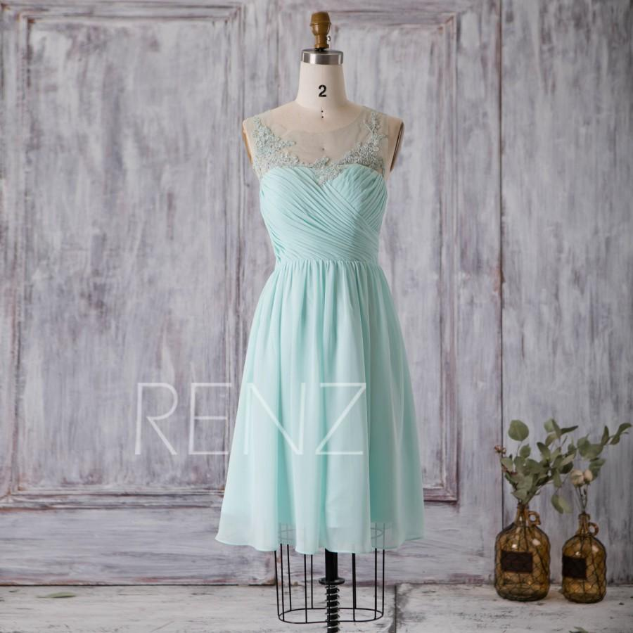 c31d20d1bc3 2016 Mint Blue Bridesmaid Dress Chiffon Tail A Line Prom. Mint Blue Chiffon  Short Bridesmaid Dresses Pastel Green Colored Sweetheart ...