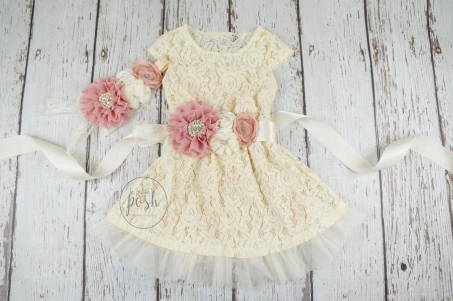 Boda - baby lace dress flower girl dress, lace dresses, dusty rose flower girl dress, flower girl dresses, country flower girl,