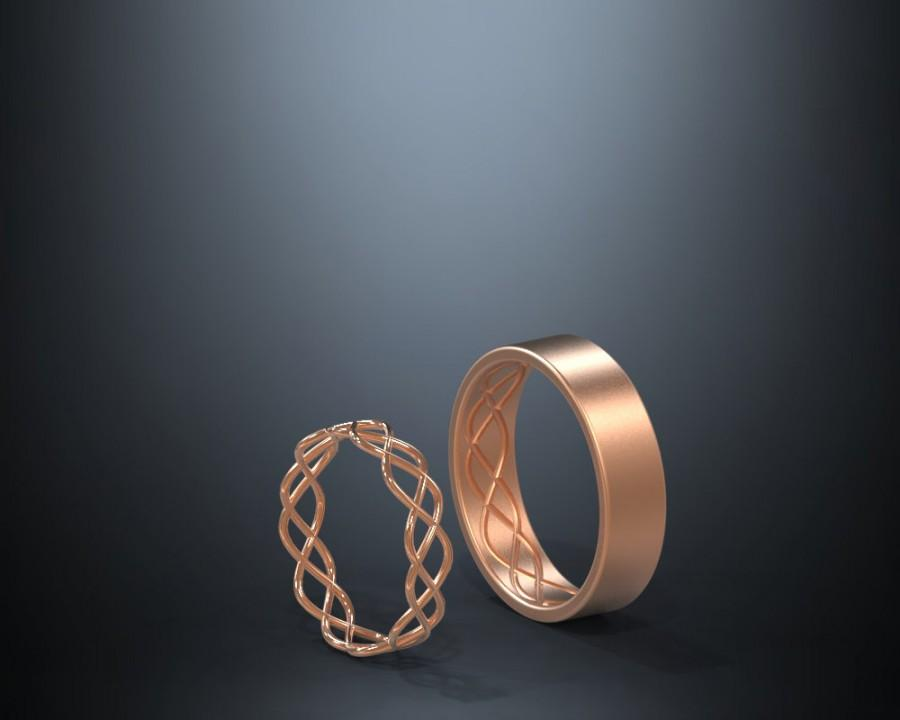 Mariage - 14K Rose Gold Celtic Wedding Rings Set