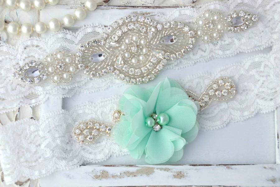 Свадьба - Mint Wedding Garter Set , Wedding Garter, Lace Wedding Garter, Mint Garter, Seafoam Garter,Mint Green Garter Belt, Flower Garter