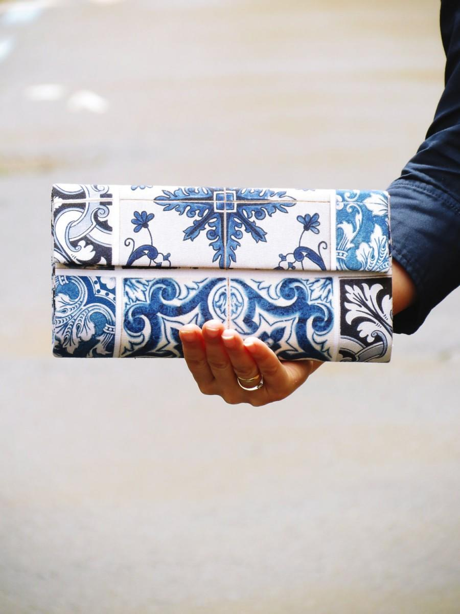 Wedding - Baroque print clutch - Blue and white clutch - Wedding handbag - Elegant Evening bags