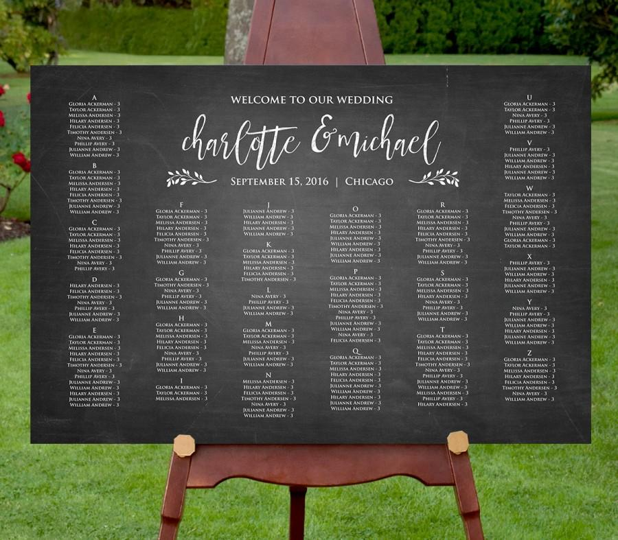 Wedding Seating Chart Template, Instant Download, Editable Text, DIY ...