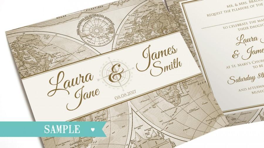 Vintage Map Wedding Invitation Travel Adventure Steampunk Sample