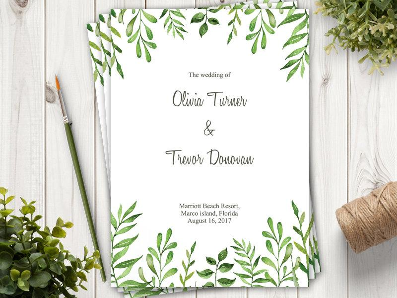 watercolor wedding program lovely leaves green diy printable