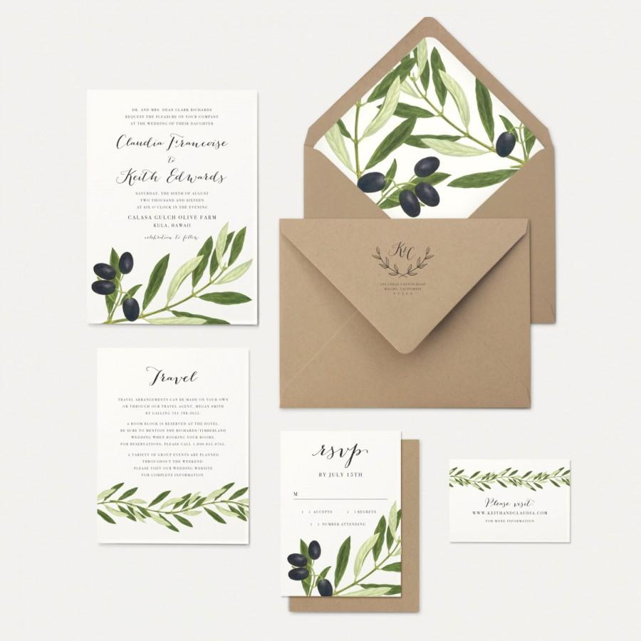 Olive Branch And Leaves Wedding Invitation Rustic Greek Tuscan Invitations