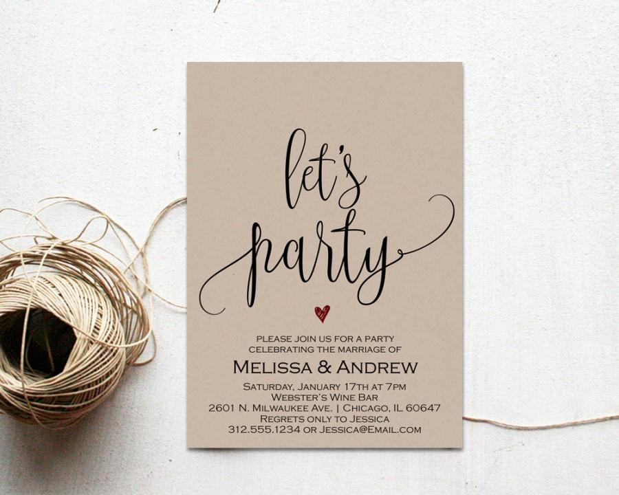 Elopement Party Invitation Editable Wedding Template We Eloped Just Married Wset5